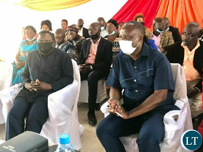 Harry Kabala and Felix Mutati attending a church Service during the day of National Prayers