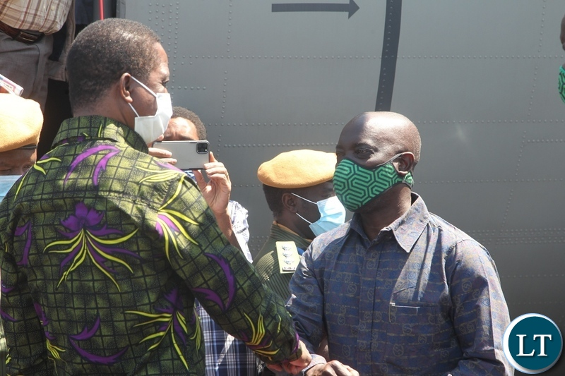 President Edgar Lungu at welcomed by Luapula Province Minister Nixon Chikangwa on arrival at Mansa Airport