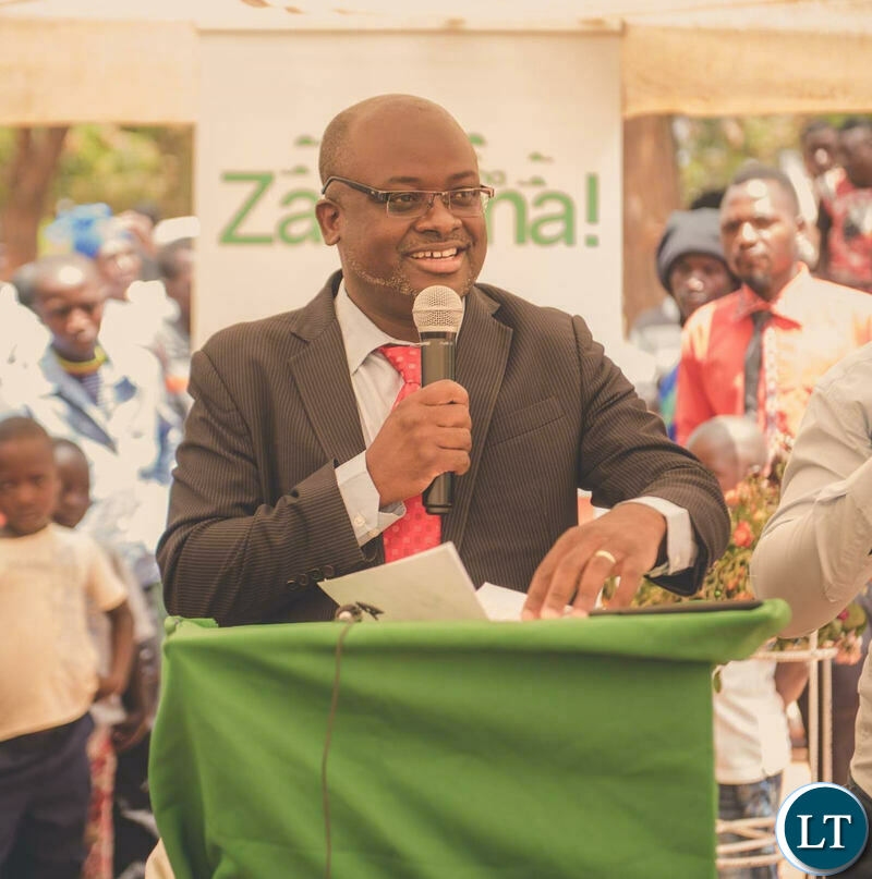Zamtel CEO Sydney Mupeta  delivering his speech during the launch of the Chimbilima site in Chama District.
