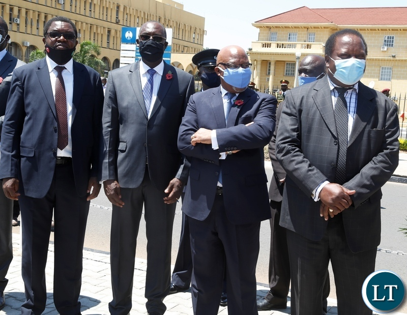 From (right) Former Vice Presidents Enock Kavindele, Nevers Mumba and two Cabinet Ministers Bwalya Ngandu, Finance and Joseph Malanji of Foreign Affairs during the remembrance day at the National Cenotaph in Lusaka. Picture by SUNDAY BWALYA/ZANIS