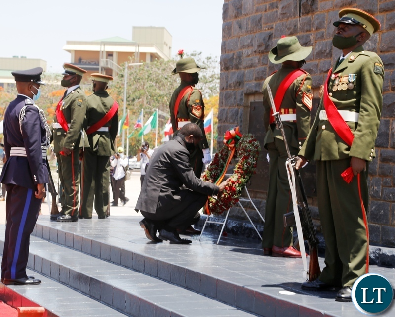 President Edgar Lungu lays a wreath at the national Cenotaph during the remembrance day in Lusaka. The day is observed annually to remember the fallen heroes who fought in the first and second world wars.Picture by SUNDAY BWALYA/ZANIS