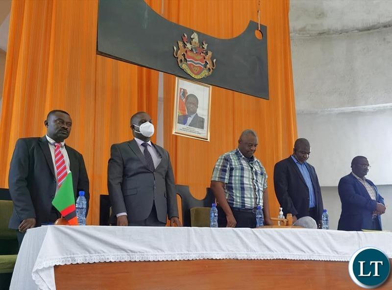 Mr. Amos Musonda at a meeting with  Directors of Chingola and Chililabombwe Council