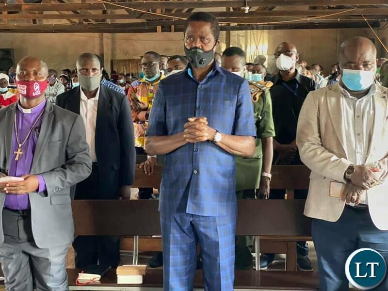 President Edgar Chagwa Lungu  attends Church Service at United Church of Zambia (UCZ) St Luke congregation in Mushota, Kawambwa district of Luapula Province.