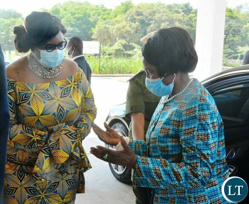 Vice-President Inonge Wina talks to Minister of Information, Dora Siliya during the World Communication Forum -Africa in Lusaka.