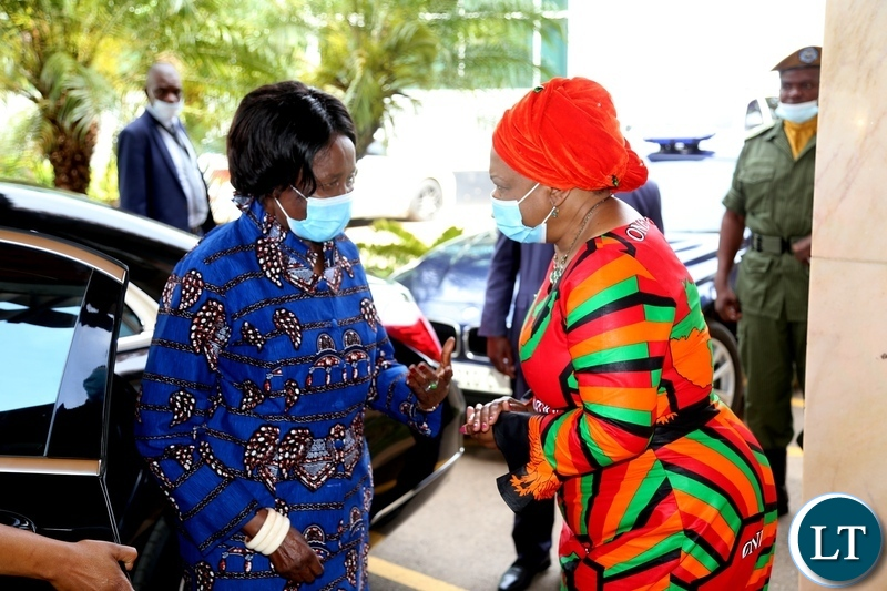 Vice President Inonge Wina being welcomed by Minister of National Guidance and religious affairs Godfridah Sumaili during the commemoration of the declaration of Zambia as a Christian Nation at mulungushi international conference centre yesterday. Tuesday, December 29, 2020. Picture by ROYD SIBAJENE/ZANIS