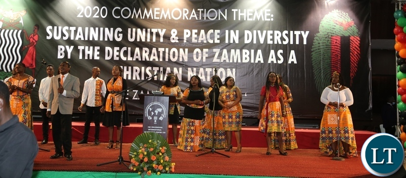 Worship Connection Choir singing at the commemoration of the declaration of Zambia as a Christian Nation at mulungushi international conference centre yesterday. Tuesday, December 29, 2020. Picture by ROYD SIBAJENE/ZANIS