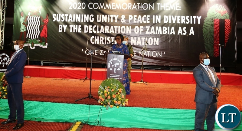 Vice President Inonge Wina officiating at the commemoration of the declaration of Zambia as a Christian Nation at mulungushi international conference centre yesterday. Tuesday, December 29, 2020. Picture by ROYD SIBAJENE/ZANIS