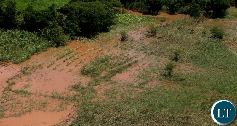 The washed aways mainze fields in Mumbwa District after the Kandesha dam burst it banks creating flash floods yesterday. Sunday, December 27, 2020. Picture by ROYD SIBAJENE/ZANIS