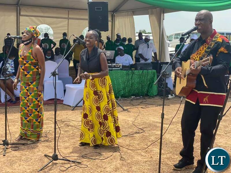 Performers entertain guests during the laying of a foundation stone on the construction site for an international convention centre, 3 star hotel and shopping mall