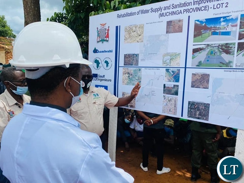 President Lungu at the Launch site of the  US$17m water project