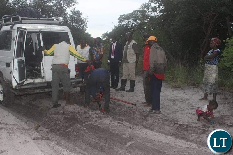 Former Minister of Finance Situmbeko Musokotwane campaining team endures the challenging terrain of Liuwa Constituency in Luola Ward Local Government Election in Western Province
